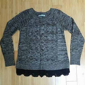 Maurices Grey Melange Knit Sweater Crochet